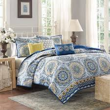 California King Size Comforter Sets Amazon Com Madison Park Tangiers 6 Piece Coverlet Set Blue