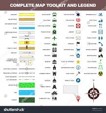 Map Symbols Map Icon Legend Symbol Sign Toolkit Stock Vector 81306559
