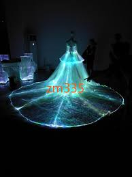 fashion luxury light up fiber optic material lace led tail wedding dresses cathedral train wedding dresses wedding dresses princess