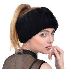 knit headbands rabbit fur headband winter knit neck warmer real fur headbands