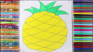 how to draw pineapple coloring pages for kids l coloring book