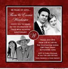 40th anniversary invitations ruby wedding invitations wedding invitation cards 40th wedding