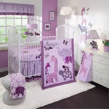 bedroom purple and yellow crib bedding with animals print on