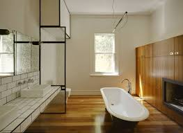 Bamboo Floors In Bathroom Minimalist Bathroom With White Walls And Bamboo Bathroom Flooring