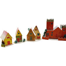12 vintage cardboard mica putz house ornaments made in