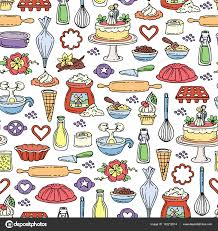 vector seamless pattern with hand drawn colored cakes pattern on