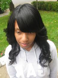 sew in weave with side bangs popular long hairstyle idea
