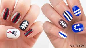 football nail art packers vs seahawks and colts vs patriots