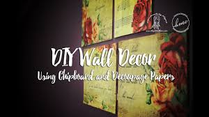 diy home decor using chipboard and decoupage papers wall