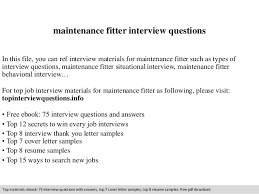 Resume For Iti Fitter Maintenance Fitter Interview Questions