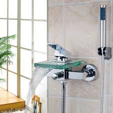popular shower mixer set buy cheap shower mixer set lots from bath shower faucets square wall mounted waterfall glass spout bathroom bath handheld shower set tap