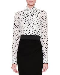 black polka dot blouse dolce gabbana tie neck polka dot blouse white black neiman