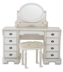 Bathroom Stool Wood Rustic White Glaze Vanity Table Dresser With Carbed Frame Three