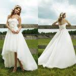 high low wedding dress with cowboy boots high low country wedding dresses discount country high low