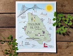 map of mackinac island mackinac island map illustration print