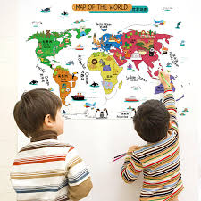 livingroom world world map letters colour animals wall sticker for tv