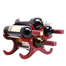 natural brown wood and metal 6 wine bottle organizer display rack