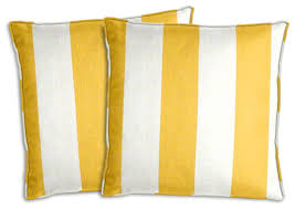 White Patio Cushions by Yellow And White Awning Stripe Outdoor Pillow Set Traditional