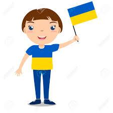 Holding The Flag Smiling Chilld Boy Holding A Ukraine Flag Isolated On White