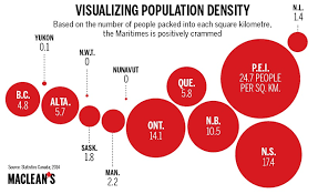 canadian map population distribution mapped canadian population density