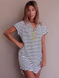 oversized t shirt dress v neck short sleeve striped curved hem