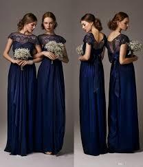 navy bridesmaid dresses 2016 cheap navy blue bridesmaid dresses sheer crew neck