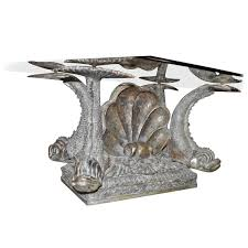 neoclassical style dolphin center or bronze neoclassical coffee table with dolphin and shell details