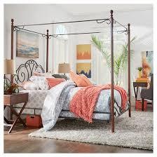 Metal Canopy Bed Frame Sereno Metal Canopy Bed Queen Bronze Cherry Inspire Q Target