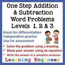 subtraction word problems one step addition subtraction word problems levels 1 2 3
