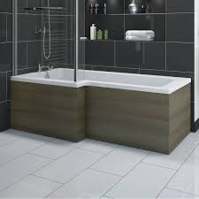 l shaped shower bath wooden front panel drift walnut 1500mm