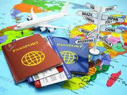 On The Map Travel Or Tourism Concept Passport Airplane Airtickets And