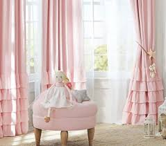 White Ruffled Curtains by Pink Ruffled Curtain And White Sheer Curtain For Impressive Baby