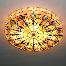 vintage peacock pattern stained glass ceiling lights