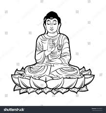 buddha isolated on white esoteric vintage stock illustration