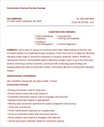 Mechanical Foreman Resume Construction Resume Examples Construction Resume Template 9 Free