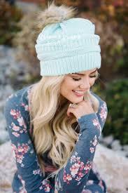 mint fur pom knit beanie cute cc beanie trendy boutique jewelry