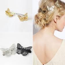 barrette hair fashion women gold silver butterfly hairpin barrette hair clip