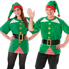 unisex green jolly elf christmas fancy dress costume xmas party
