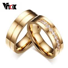 weding ring vnox trendy wedding bands rings for women men gold color