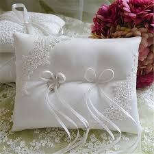 wedding pillow rings 1pcs lot church wedding white ring pillow ribbon silk bow