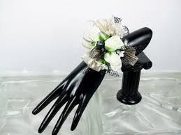 Black And White Corsage White Champaign And Black Wrist Corsage In Pratt Ks The Flower