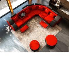 Orange Leather Sectional Sofa Dreamfurniture 3087 Modern Black And Orange Leather