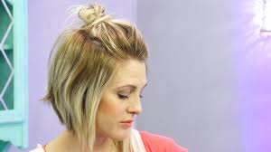 half up half down quiff hairstyles how to do a half up messy bun with short hair hack youtube