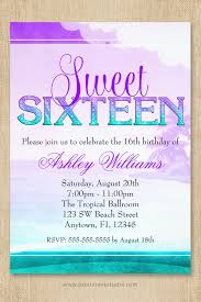 purple and aqua tropical beach sweet 16 birthday party invitation