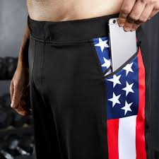 American Flag Jean Shorts Men American Flag Gym Short Black Usa Running Short Hylete
