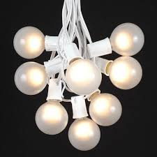 frosted g50 globe outdoor string light set on white wire