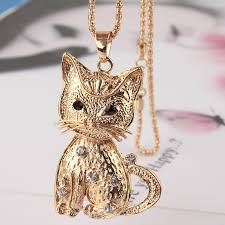 gold cat pendant necklace images Gold plated vogue women party gift white austrian crystal cat jpg
