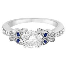 butterfly diamond sapphire engagement ring 14k white gold 0 20ct
