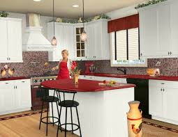 Black And White Laminate Floor White Wooden Kitchen Cabinet And Island With Red Countertop Plus