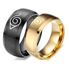 anime wedding ring hot sale anime ring jewelry 8mm black gold cool men